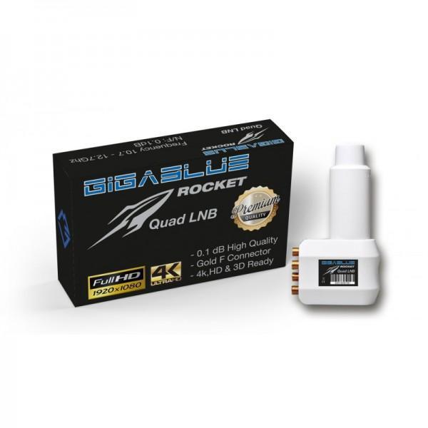 GigaBlue Rocket Quad LNB SAT UHD/4K , full HD, vergoldete Anschlüsse Ansicht