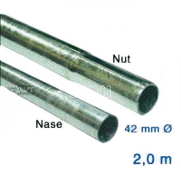 Antennenmastrohr Stahl verzinkt, 42 mm, 2 m Länge, steckbar