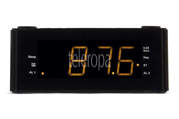 CLR 180 BK Uhrenradio mit Wecker, AUX-IN, Stereo PLL FM-Lautsprecher, 2 Weckzeiten, Snooze-, NAP und Sleep-Timer